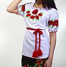 Женская вышиванка с коротки рукавом с маками, фото 2