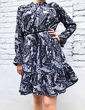 Платье женское принт турецкий огурец синее