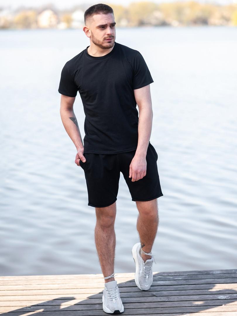 Мужской летний комплект BEZET (шорты+футболка), черный мужской спортивный комплект