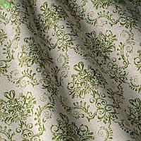 Декоративная ткань с зеленым вензелем на льне Испания