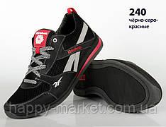 Шкіряні кросівки Rebook (репліка) зі вставками сітки (240 чорно-сіро-червона)
