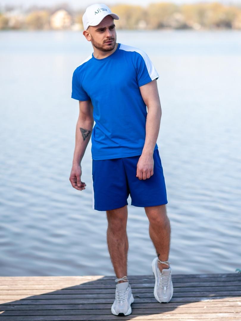 Мужской летний комплект BEZET (шорты+футболка), синий мужской спортивный комплект
