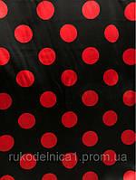 Атлас  красный горох на чёрном фоне (ш 145 см)