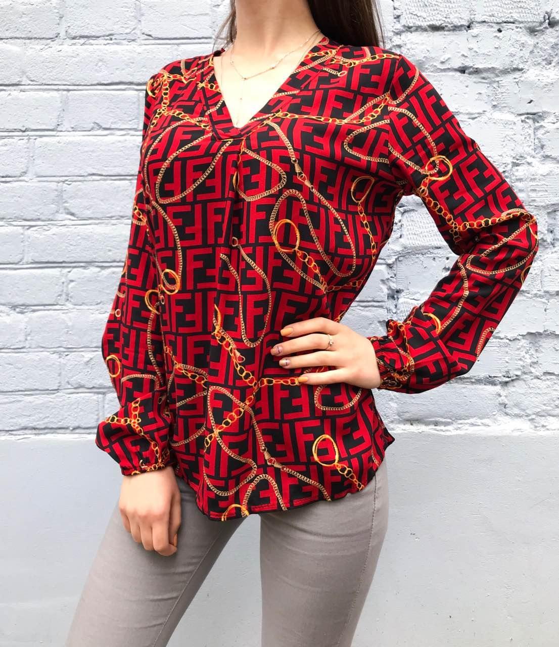 Рубашка женская Fendi цепи (красная) размер S