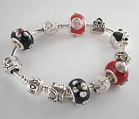 Женский браслет Pandora (Пандора) красно-черный секси