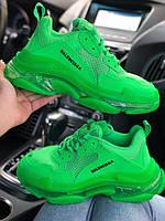 Женские кроссовки Balenciaga Triple S (full green), женские кроссовки balenciaga triple s