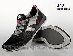 Шкіряні кросівки Nike (репліка) зі вставками сітки (247 чорно-сіра)