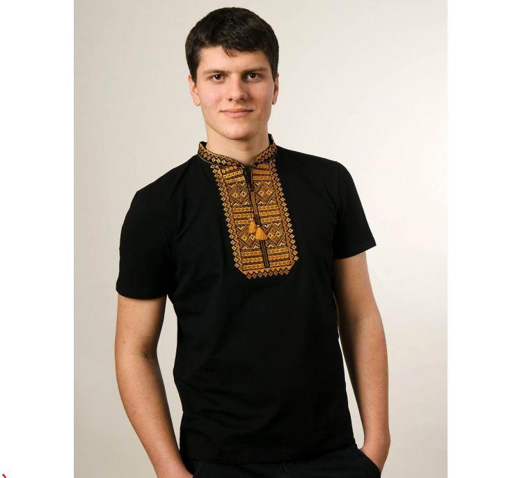 Мужская футболка вышиванка черного цвета с горчичным орнаментом  Гладь / размер S-3ХL