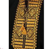 Мужская футболка вышиванка черного цвета с горчичным орнаментом  Гладь / размер S-3ХL, фото 2