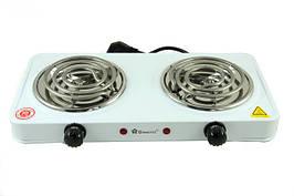 Плита электрическая двухконфорочная Domotec 2 по 1000 Ватт  для кухни, дачи, дома