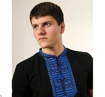 Мужская футболка вышиванка черного цвета с синим орнаментом  Гладь / размер S-3ХL