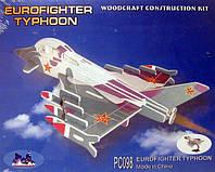 Конструктор деревянный sea-land самолет  ТАЙФУН  цветной   3-и пластины