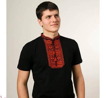 Мужская футболка вышиванка черного цвета с красным орнаментом  Гладь / размер S-3ХL