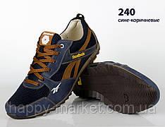Шкіряні кросівки Rebook (репліка) зі вставками сітки (240 синьо-коричнева)