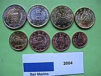 Сан Марино набор евро монет 2004 г. UNC