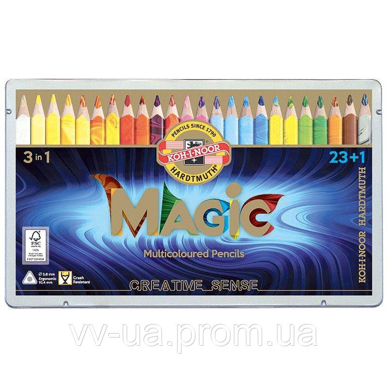Набор многоцветных карандашей Koh-i-Noor Magic 3 in 1, 23 шт. + блендер (340802)
