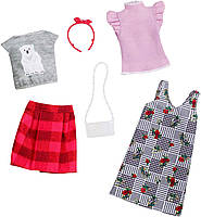 Одежда для кукол Барби Barbie Fashion, Mix Checks and Nature,2 count FXJ67