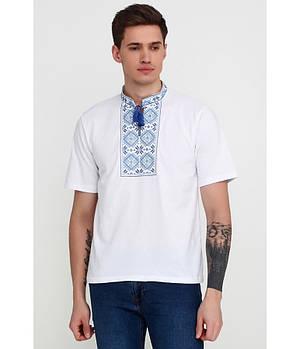 / Размер XL,2XL / Мужская вышитая футболка гладдю М-618-3 / цвет белый с cиним орнаментом