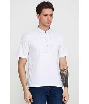 / Размер XL,2XL / Мужская вышитая футболка гладдю М-618-4 / цвет белый с белым орнаментом