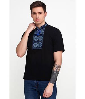 / Размер S,M,L,2XL / Мужская вышитая футболка гладдю М-618-5 / цвет черный с cиним орнаментом