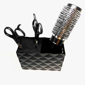 Подставка двойная для парикмахерских ножниц и инструментов SPL 21123, черная, фото 2