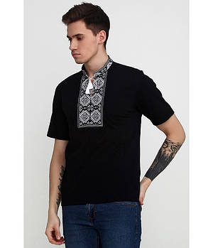 / Размер S,M,L,2XL / Мужская вышитая футболка гладдю М-618-5 / цвет черный с серым орнаментом