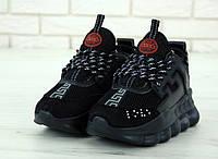 Мужские женские Версаче Chain Reaction Sneakers Black