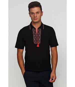 / Размер S,M,L,2XL / Мужская вышитая футболка хрестиком Поло М-612 / цвет черный с красным орнаментом