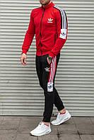 Мужской спортивный костюм adidas красный без капюшона с полосками