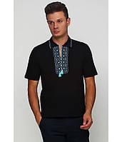 / Размер S,L,XL,2XL / Мужская вышитая футболка хрестиком Поло М-612 / цвет черный с голубым орнаментом