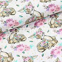 Хлопковая ткань Олени розочки на белом, фото 1