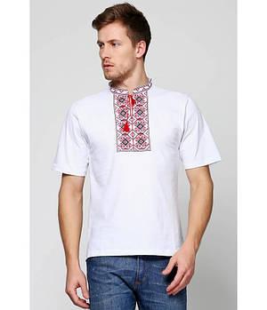 / Размер S,M,L,XL,2XL / Мужская вышитая футболка хрестиком Ромби М-614 / цвет белый с красным орнаментом