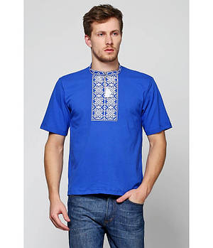 / Размер S,M,L,XL,2XL / Мужская вышитая футболка хрестиком Ромби М-614-3 / цвет синий с серым орнаментом