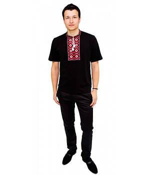 / Размер S,M,L,XL,2XL / Мужская вышитая футболка хрестиком Ромби М-614-14 / цвет черный с красным орнаментом