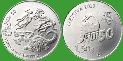 Литва 1,5 евро 2018 г. 50 лет факультету физики Вильнюсского университета . UNC