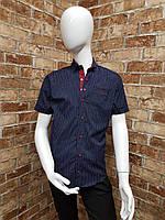 Рубашка подростковая с коротким рукавом для мальчика от 12 до 16 лет тёмно синяя с красным