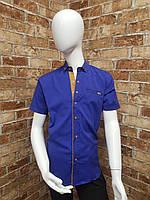 Рубашка подростковая с коротким рукавом для мальчика от 12 до 16 лет синего цвета, фото 1