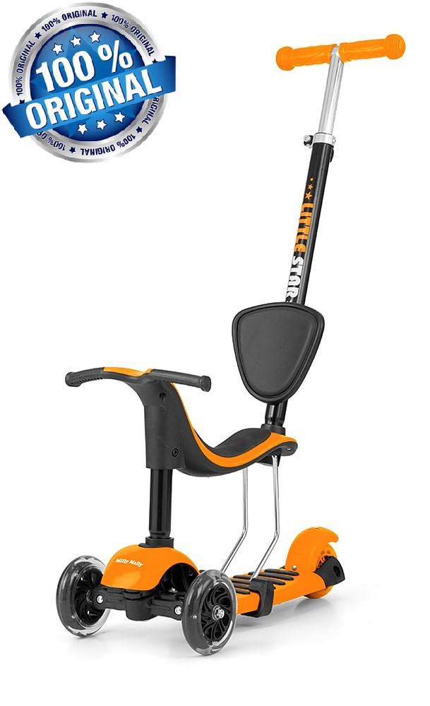 Самокат-беговел с сиденьем 3в1 Milly Mally Scooter Little Star (Польша), оранжевый