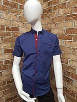 Рубашка подростковая с коротким рукавом для мальчика от 12 до 16 лет джинсового цвета