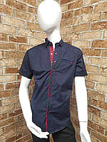 Рубашка подростковаяс коротким рукавомдля мальчика от 12до 16лет тёмно синегоцвета