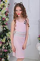 """Детский костюмдля девочки юбка с топом от 7 до 11 лет """"Цветочки"""",светло розового цвета"""