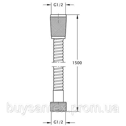 Bianchi FLS460#150AA9CRM (FLS 460150A99 CRM) шланг 1/2 150 см нерж.2 замка, фото 2