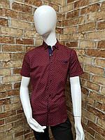 Рубашка подростковая с коротким рукавом для мальчика от 12 до 16 лет бордового цвета, фото 1