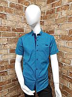 Рубашка подростковая с коротким рукавом для мальчика от 12 до 16 лет бирюзовая с тёмно синим, фото 1