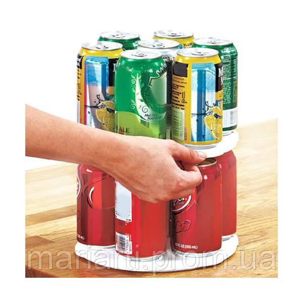 Вращающаяся двухуровневая подставка для банок и консервов Can Tamer