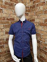 Рубашка подростковая с коротким рукавом для мальчика от 12 до 16 лет джинсового цвета, фото 1