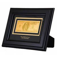 Банкнота  золотая в деревянной рамке 100 Долларов