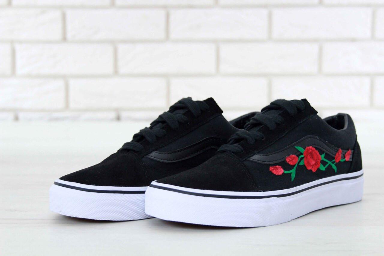 Женские кеды Vans Old Skool Rose,черные