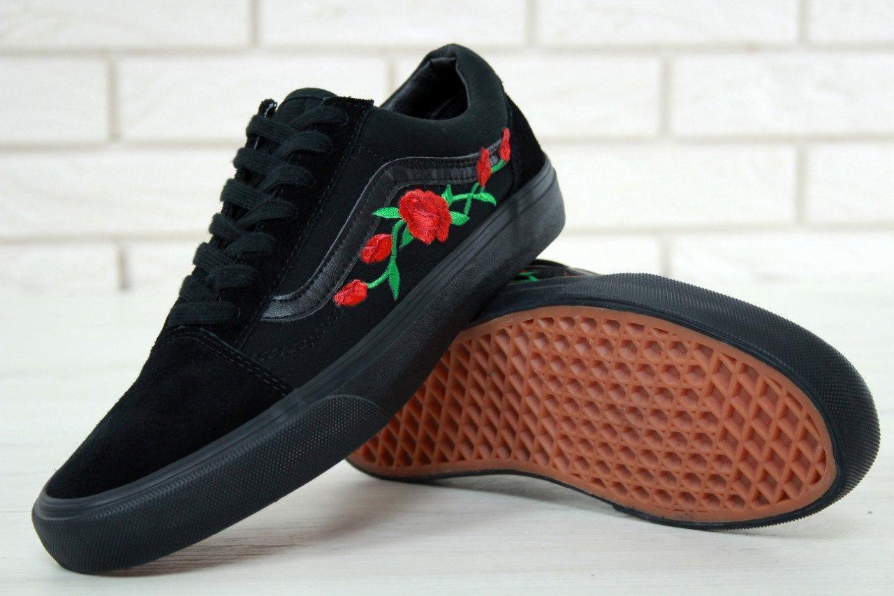Женские кеды Vans Old Skool Rose, черные