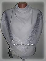 Турецкие шифоновые платки с атласной вставкой, белый